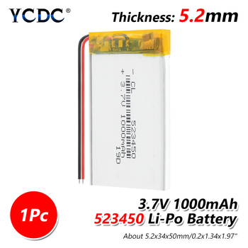 Lithium Rechargeable Battery 1100 mAh 543450 3.7V Polymer Li-ion Battery 503450 523450 for Smart Phone DVD MP3 MP4 Led Lamp image