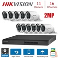 16 каналов HIKVISION английская версия DVR DS-7216HGHI-F1/N 1080P с 11 шт. 2MP 4 в 1 Крытый Открытый камера ночного видения комплект