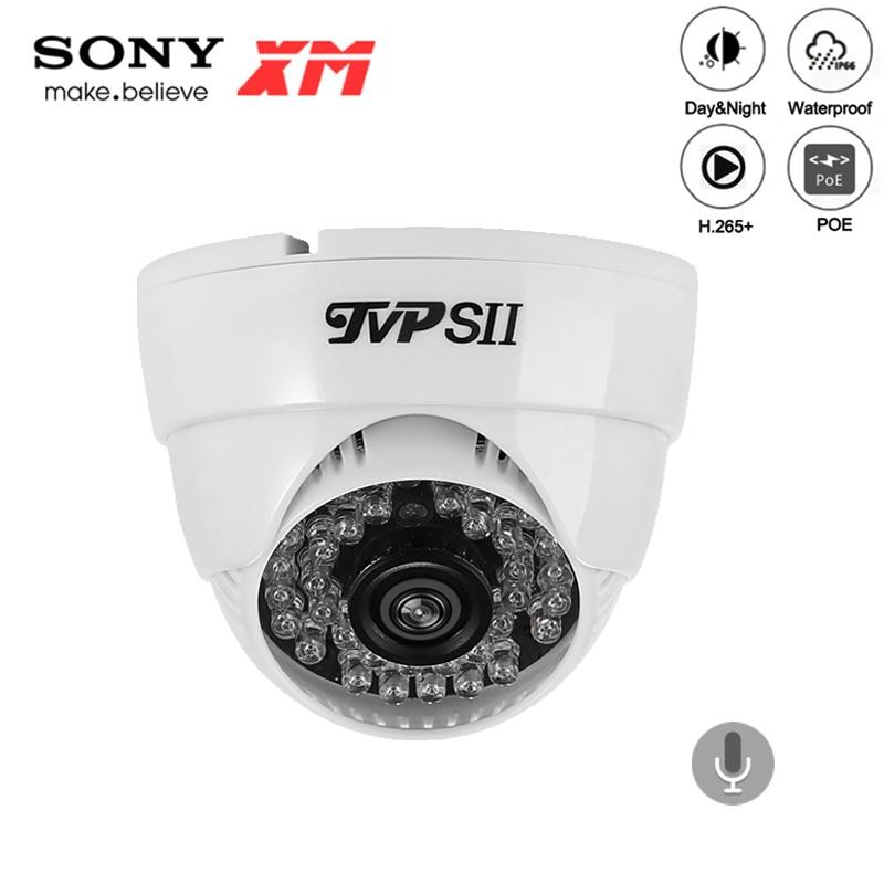 36 pces leds infravermelhos plástico 5mp, 4mp, 3mp, 2mp h.265 + 25fps interior áudio detecção de rosto segurança dome cctv câmera ip poe