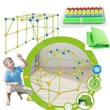 Crianças construção fort building castelos túneis tendas kit diy 3d jogar casa de construção brinquedos para crianças presente aniversário bloco construção