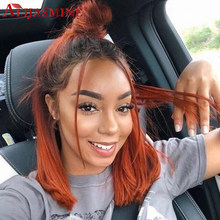 Ginger Orange Glueless Full Lace Wigs With Baby Hair For Women Brazilian Remy Straight Ombre Colored Human Hair Wigs 8-24inch(China)