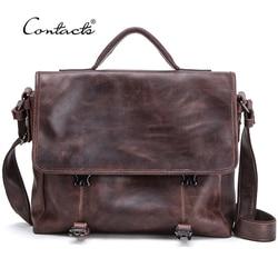 CONTACT'S Casual torba męska oryginalna skórzana teczka męskie torby biznesowe na laptopa wysokiej jakości torba Tote torebki Bandolera