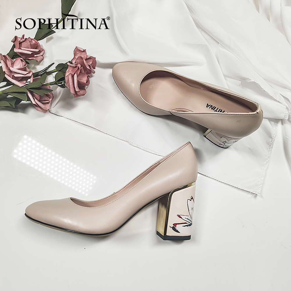 SOPHITINA Brand Pumps Print Square Heels Slip-On Shallow High Quality Pumps Sheepskin Office Handmade Elegant Shoes Woman  C605