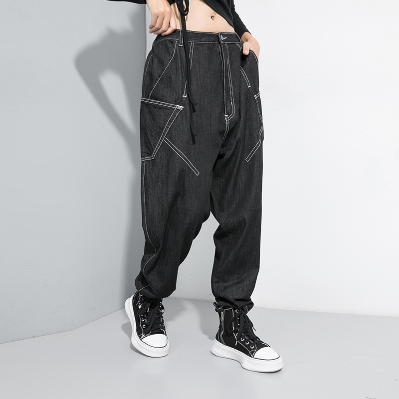 [EAM] Black Spliced Pocket Fit Harem Jeans New High Elastic Waist Loose Women Trousers Fashion Tide Spring Autumn 2020 1D083