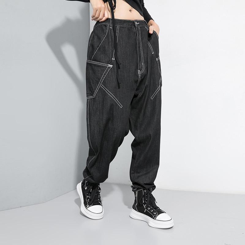 [EAM] Black Spliced Pocket Fit Harem Jeans New High Elastic Waist Loose Women Trousers Fashion Tide Spring Autumn 2020 1D083