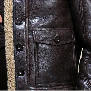Image 4 - Thicken Real Sheepskin Coat Men Winter Warm Brown Fur Clothing 2019 New Genuine Leather Natural Sheepskin Leather Outwear