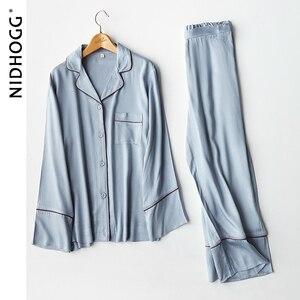 Image 5 - New Elegant High end 6 Color Pajamas Viscose Solid Pijamas Long Sleeve Lounge Wear Women Satin Sleepwear Womens Home Clothes