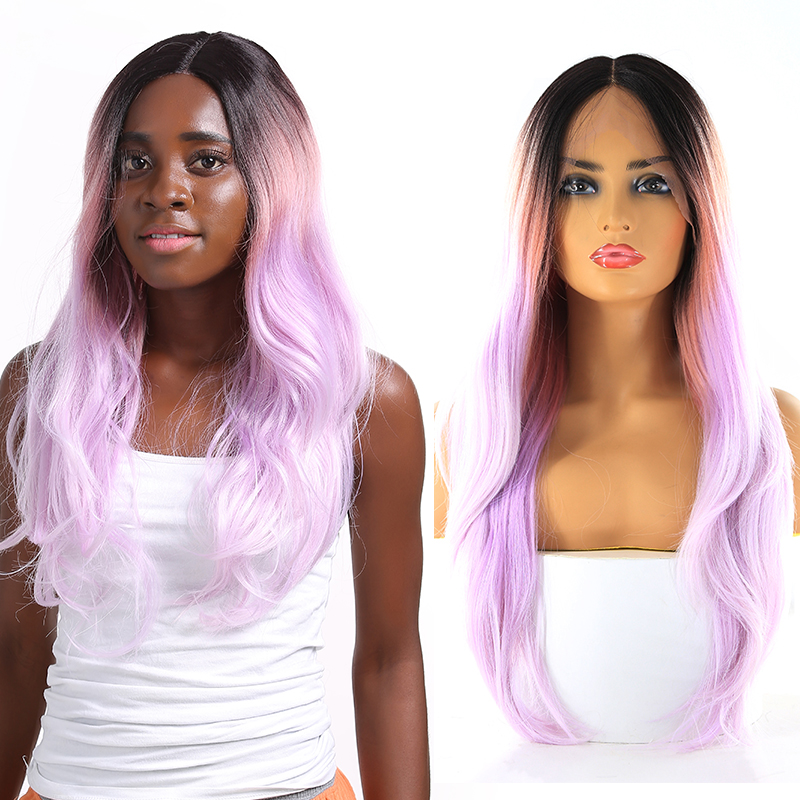 Ombre Purple Synthetic Lace Front Wigs Middle Part Long Wave Lace Front Wigs For Black Women Natural Wave Lace Front Wigs SOKU