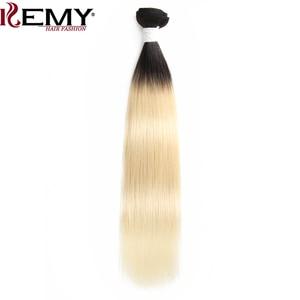 Image 3 - 1b/613 # Ombre Blonde Haar Bundles KEMY HAAR 8 26 Inch Brasilianische Gerade Menschenhaar Spinnt Bündel nicht Remy Haar Extensions 1PCS