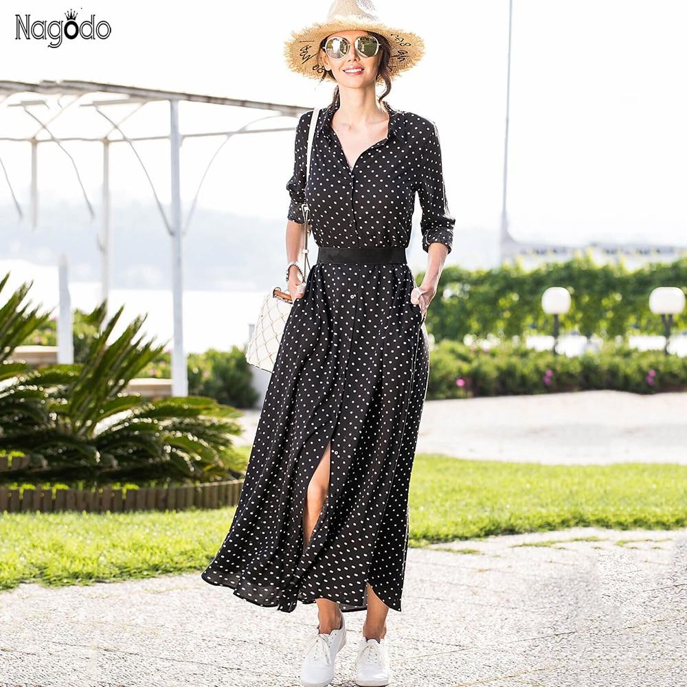 Nagodo Polka Dot Dress 2019 New Beach Ladies Vintage Summer Chiffon Dresses Long Sleeve Slim Bow belt Woman Shirt Maxi Dress in Dresses from Women 39 s Clothing