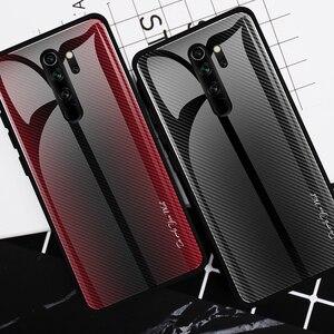 Image 1 - 25pcs Stripe Gradient Glass Phone Case for Xiaomi 10 Pro/CC9/Redmi 8A/K20 Pro/Redmi Note 9s/Note 8T/Note 9 Pro/Note 8 Pro/Note 7