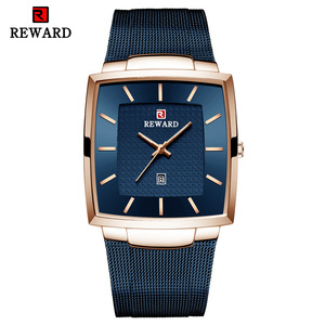 Image 2 - Часы наручные мужские кварцевые, брендовые деловые, квадратные, водонепроницаемые полностью стальные