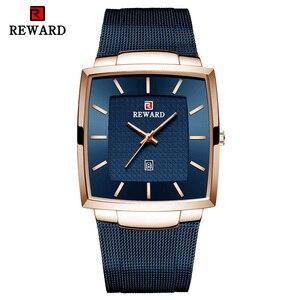 Image 2 - REWARD Top Brand Mens Watch Business Relogio Masculino Square Quartz Man Watch Men Wristwatch Full Steel Waterproof Male Watch