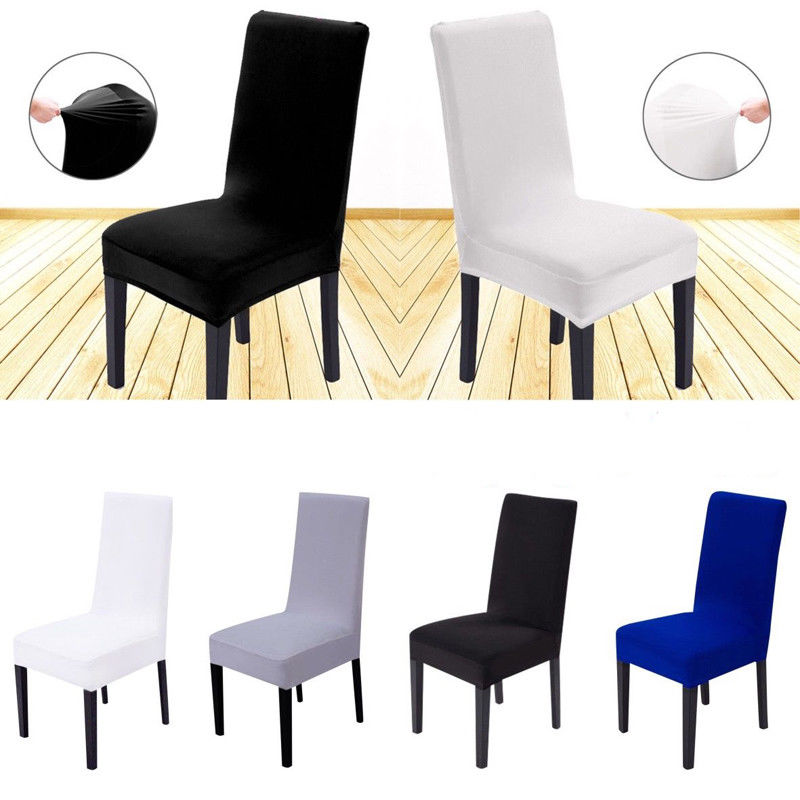 White Spandex Wedding Chair Cover Dining Room Chair Decor Set Party Stretch Seat