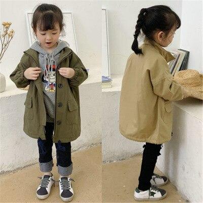 Fashion   Trench   Coat for Baby Girls 2019 Autumn Winter New Children's Jackets Boys Khaki Long Coat Kids Casual Windbreaker Coats