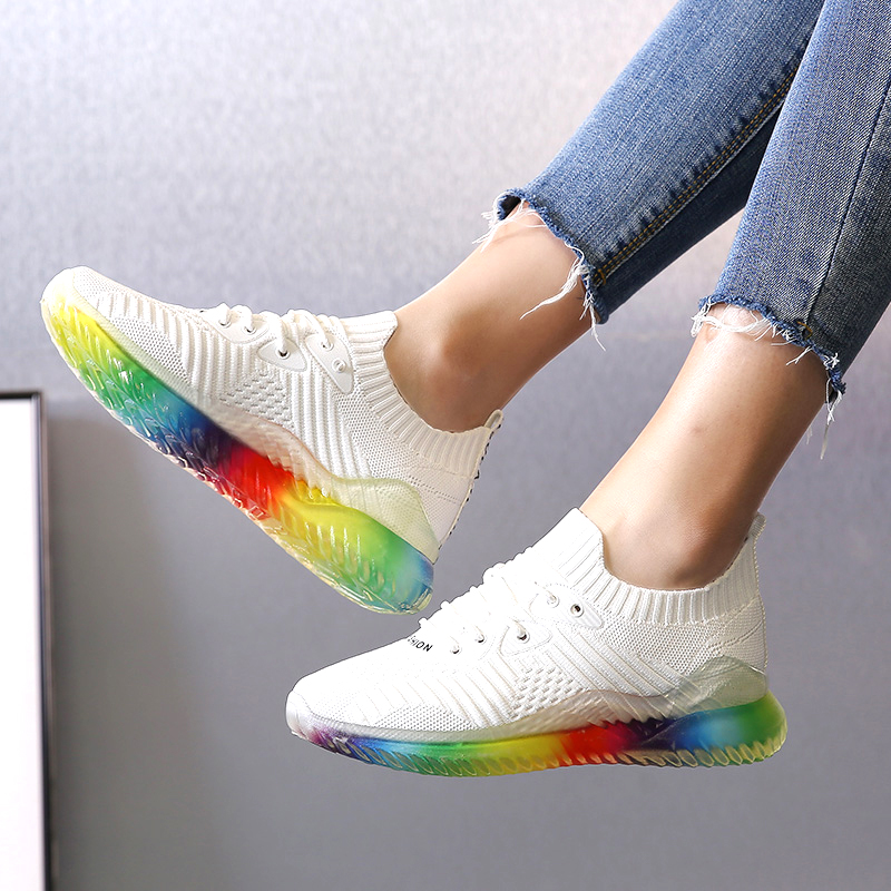 2019 Summer Platform Sock Shoes Pink Black Off White Womens Sneakers Mesh Jelly Shoes Tenis Trainers Colorful Casual Shoes