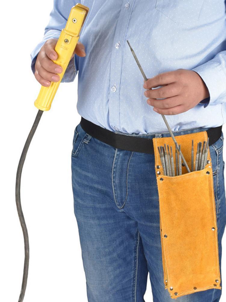 Electrode Holder Welding Rod Storage Bag Flame Retardant Cowhide Leather Hardware Waist Bag
