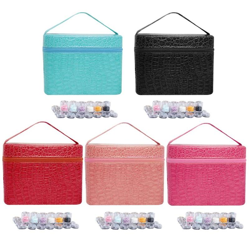 84 Slots Diamond Embroidery Box PU Diamond Painting Accessory Storage Case Container DIY Art Craft Jewelry Beads Sewing Pills Organizer Holder Clear Plastic Beads Cross Stitch Zipper Storage Bag Boxes