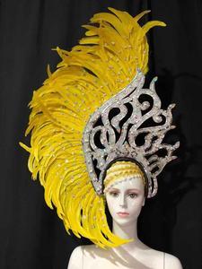 Image 5 - Латинские танцы Самба аксессуары, модный изящный головной убор с перьями, нежные аксессуары для танцев, одежда для самбы