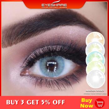 EYESHARE 1 para Aurora Europe kolorowe szkła kontaktowe roczne zastosowanie kosmetyczne soczewki kontaktowe kolor oczu tanie i dobre opinie CN (pochodzenie) 14 2mm Dwa kawałki 0 04-0 06 mm HEMA Piękna źrenica MCK1