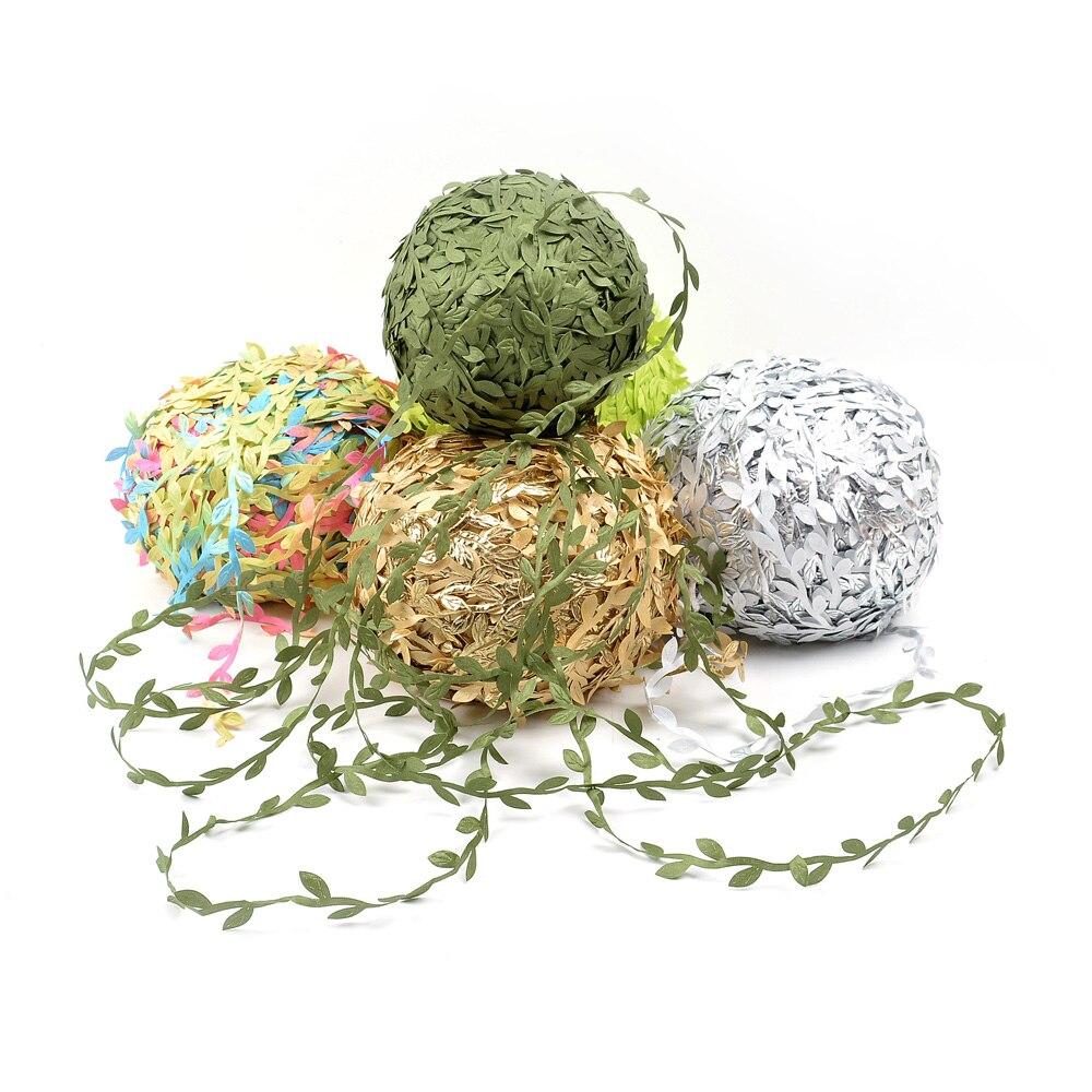 5M Silk Leaf-Shaped Handmake Artificial Green Leaves DIY For Wedding Box Decoration Foliage Handmade Craft Wreath