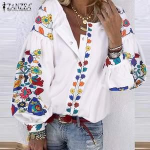 2020 ZANZEA Bohemian Printed Shirts Women's Spring Blouse Puff Sleeve Shirts Female Floral Blusas Female Button Tunic Tops 5XL