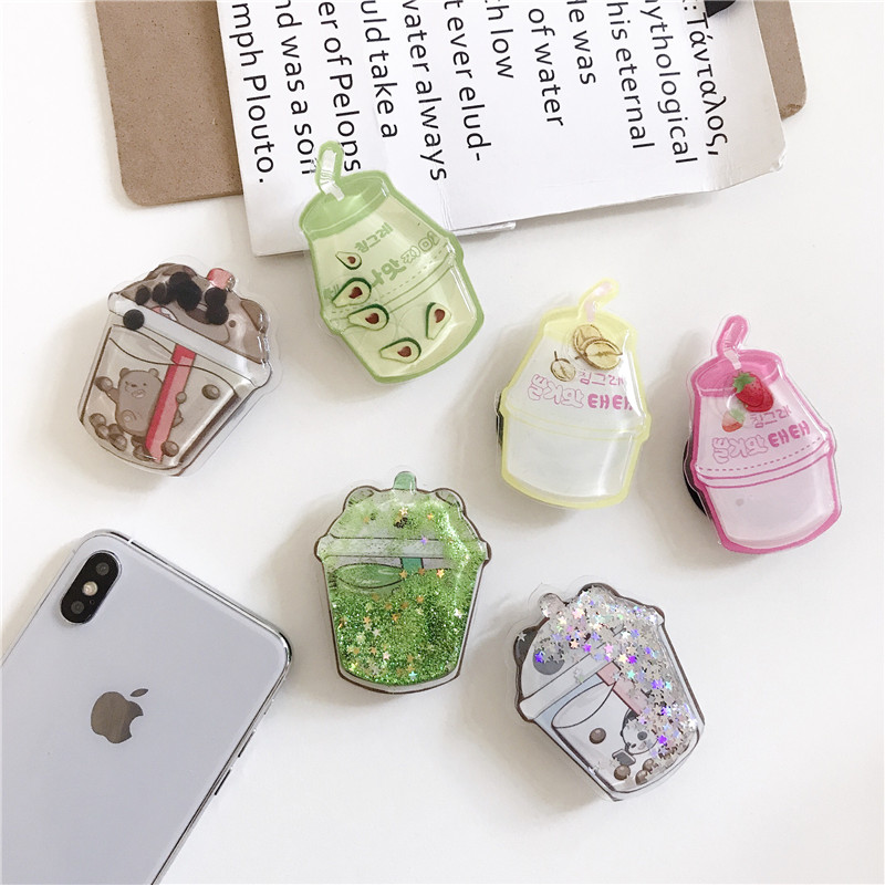Universal Phone Holder Glitter Quicksand Ring Expanding Stand Finger Bracket Cute Fold Support Mobile Phone Stand