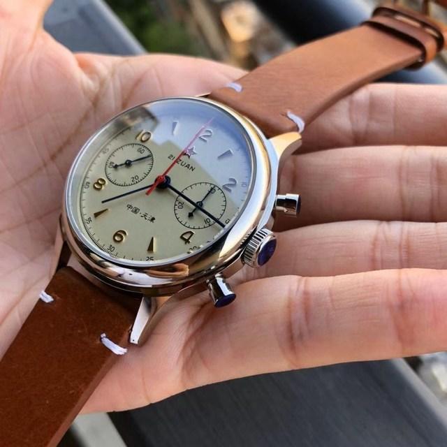 Fashion 38mm Men Chronograph Watches Sapphire Mechanical 1901 Seagull Movement Military Pilot Mens Chronograph Watch 1963 40mm 6