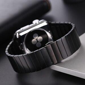 Image 3 - Edelstahl strap für Apple Uhr band 44/40mm iWatch band 42mm/38mm Schmetterling schnalle metall Armband Apple uhr 6 SE 5 4 3
