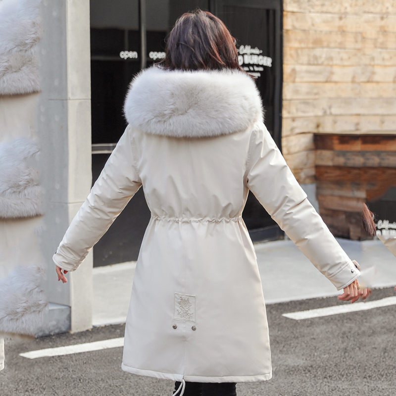 Image 4 - women long fur collar thick down coats slim hooded with pockets  zipper 2020 winter warm down jackets solid casual outwearDown Coats