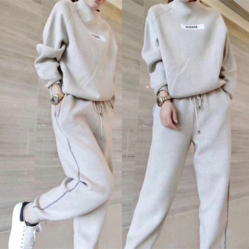 2020 Woolen and Cashmere Knitted warm Suit O collar Sweater + Harem pants loose style two-piece set women knit