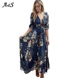 Женское платье с цветочным принтом, летнее платье с высоким разрезом, сексуальное пляжное платье Бохо С v-образным вырезом и рукавами три че...