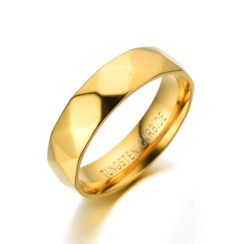 6 ミリメートルゴールドカラー超硬幾何男性のリング光沢のあるミラー 316L 結婚指輪ステートメントジュエリー Anillos