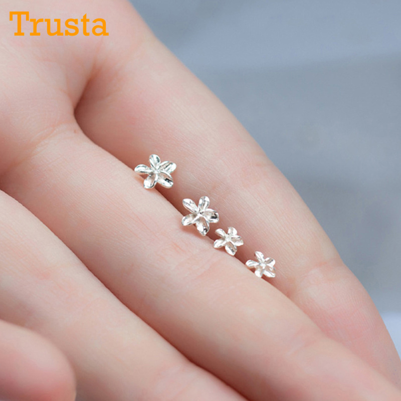 Trusta 1Pair 100% Real 925 Sterling Silver Jewelry Women Fashion Cute Tiny Flower Stud Earrings Gift For Girls Teens Lady DS197 4