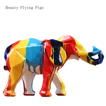 Elephant Mascot Colorful Colors Geometric Figures Statue Resin Animal Art&Craft Home Decoration For Living Room WSHYUFEI