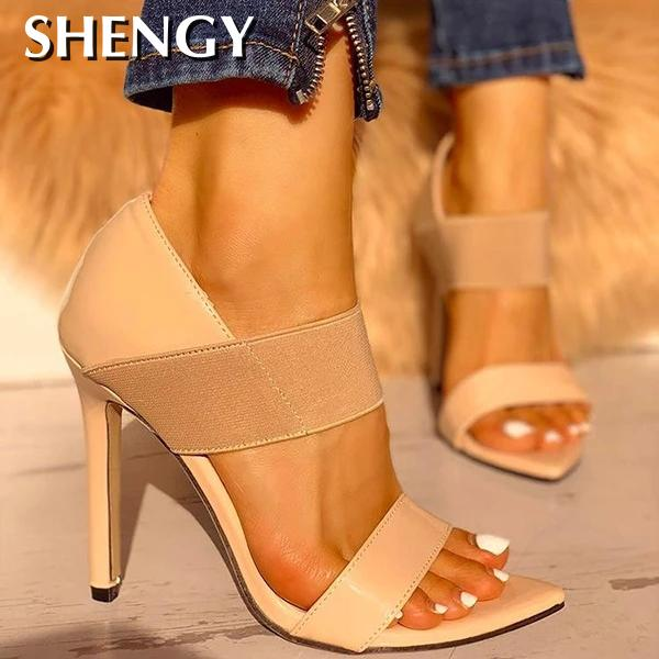 2020 Women High Heels Elastic Shoes Women Thin High Heels Shoes Sandals Office Party Pumps Wedding Ladies Shoes