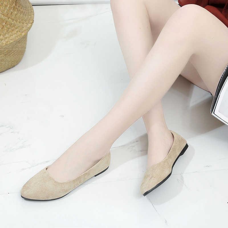 Kadın bayan rahat akın Flats ayakkabı kadınlar sivri burun kayma tekne ayakkabı Chaussures Femme düşük topuk ayakkabı Sapato Feminino