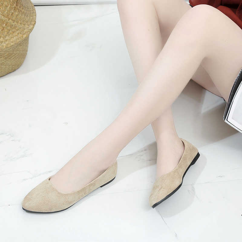 Mulher senhora casual rebanho apartamentos sapatos femininos dedo do pé apontado deslizamento em sapatos de barco chaussures femme sapatos de salto baixo sapato feminino