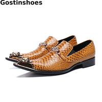 Luxury Men Shoes Genuine Leather Orange Snakeskin Printed Men Casual Shoes Pointed Iron Cap Toe Men Leisure Shoes Loafers