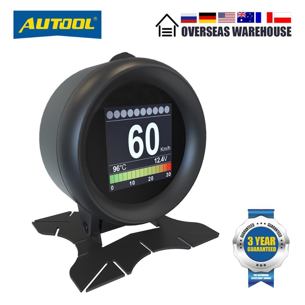 Автомобильные цифровые измерительные приборы AUTOOL X60 OBD2 HUD OBDII с индикатором на лобовом стекле и термометром для измерения расхода топлива и ...