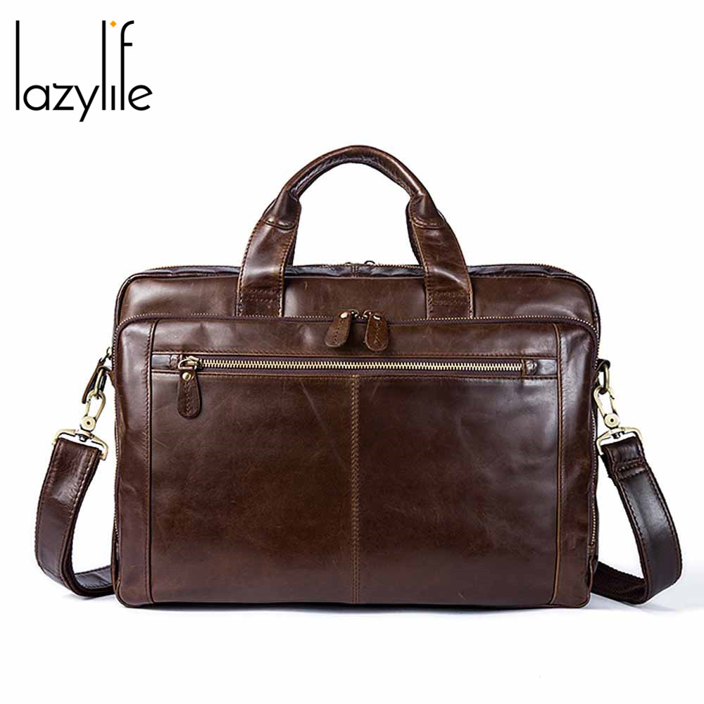LAZYLIFE Men Briefcase Bag Business Famous Brand Genuine Leather Shoulder Messenger Bags Office Handbag 14 Inch Laptop