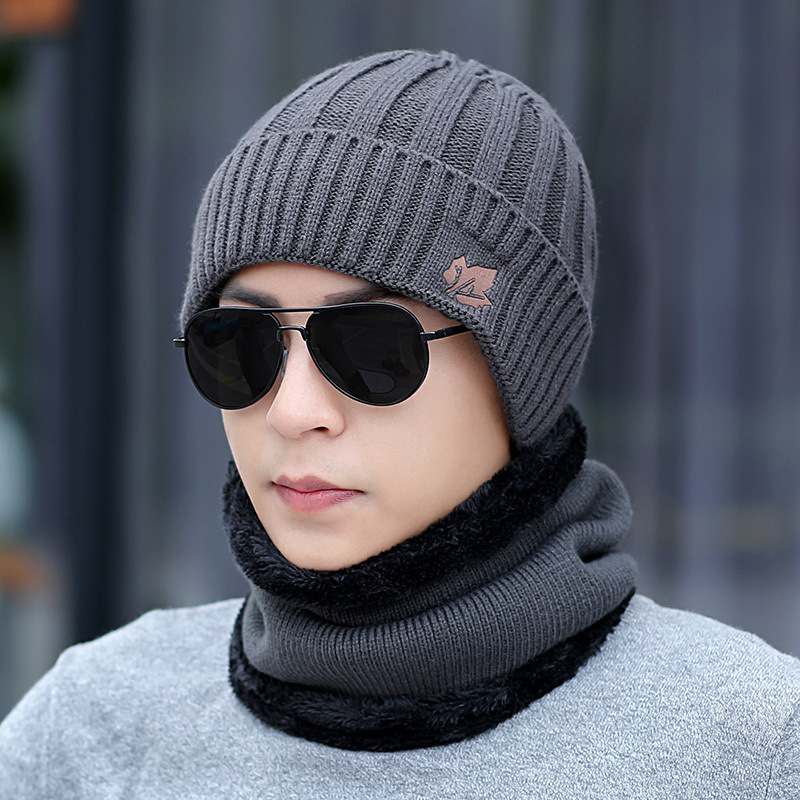Kitted Winter hat and Scarf Set Men Women Thicken Skullies Beains Hat Autumn Warm Hat Ring Scarf Female Hats Drop Shipping in Men 39 s Scarf Sets from Apparel Accessories