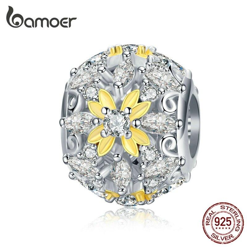bamoer Enamel Flower Openwork Round Beads for Women Jewelry Making Charm Silver 925 Jewelry Fit 3mmm Snake Bracelet SCC1333