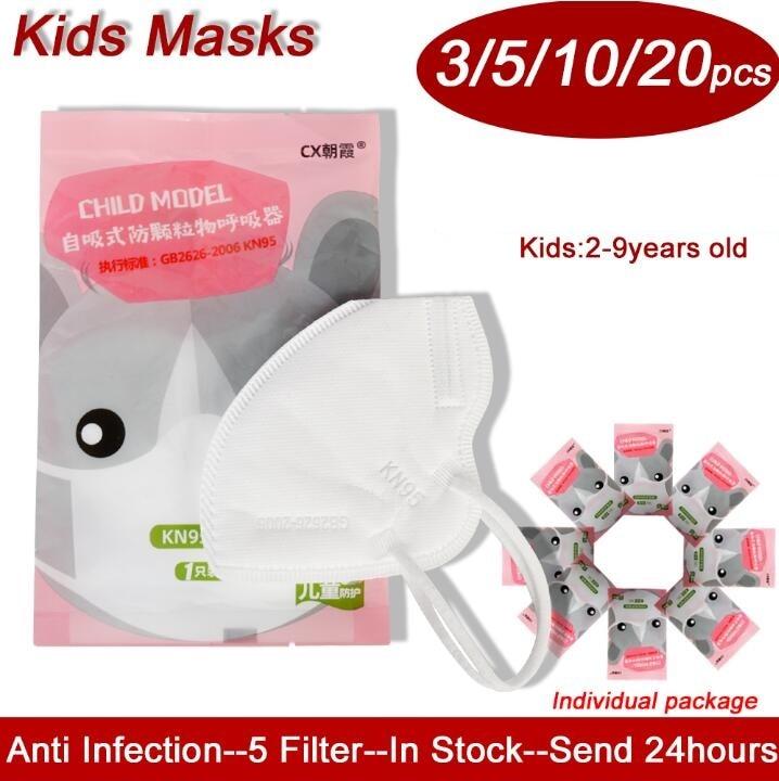 Children Kids Disposable Mask Dustproof Breathable Face Masks 95% Baby Filtration Protective Mask Prevention Breathing Valve