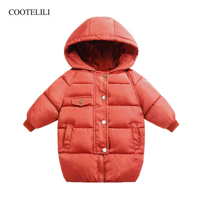COOTELILI   Winter Parkas Kids Jackets For Girls Boys Warm Thick Kids Outerwear Long Style Children's Coat  Infant Overcoat