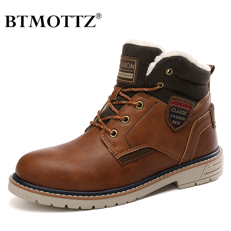 Winter Snow Boots Men Sneakers Genuine Leather Warm Fur Ankle Boots Casual Shoes Men's Military Tactical Work Boots Cowboy Botas
