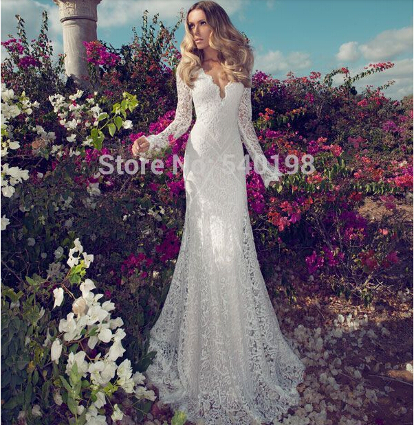 vestido de noiva dress bride 2016 Sale v-neck lace Wedding Dress free Shipping casamento New Arrival Handmade Custom long sleeve