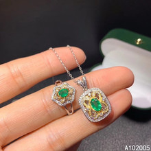 KJJEAXCMY Fine Jewelry 925 sterling silver inlaid natural Emerald female ring pendant set lovely Support detection kjjeaxcmy fine jewelry 925 sterling silver inlaid natural opal female ring pendant set classic support detection