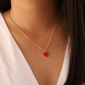 Модная детская одежда; Платье для девочек; Красный в форме сердца кулон, ожерелье, элегантные женские свадебные цепочка с кулоном, ювелирное...