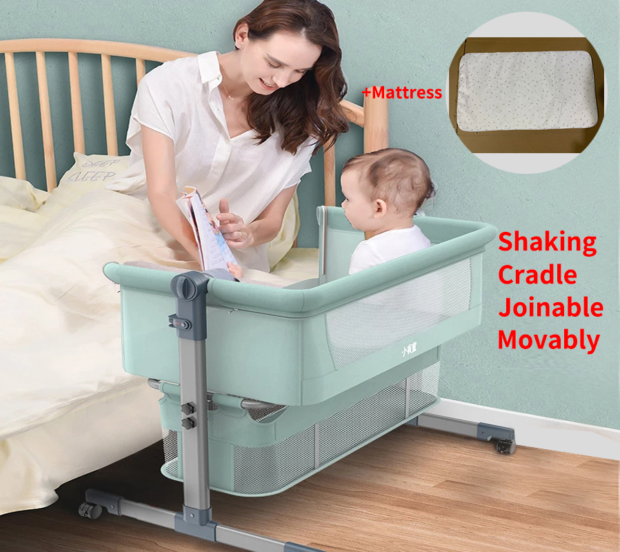 Baby Bed With Net And Mattress Portable Removable Crib Cradle Foldable Adjusting Stitching Nest